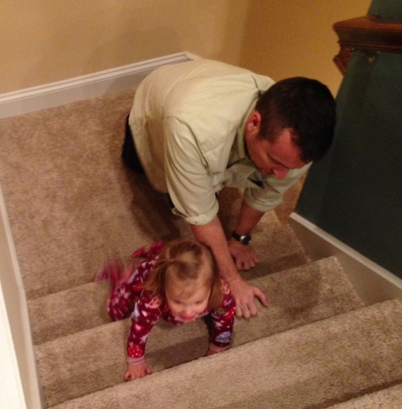 This is how we make Unkie B climb the steps over and over again . . .