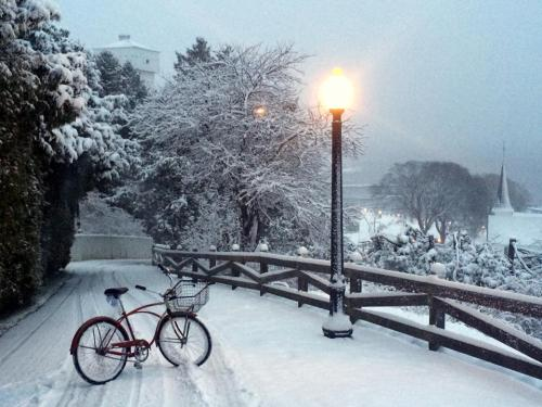 Just when the islanders thought they'd have to trade in the snowmobiles for their bikes again, they awoke a few days ago to a wonderful snowfall!  (Photo: Mackinac Wheels)