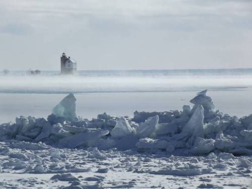 Steam coming off the lake as the wind pushes ice onto the shoreline.  (Photo: Greg Main)