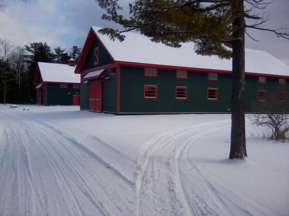 The beautiful Grand Hotel stables . . . sitting serenely in the snow, resting up for another busy season.