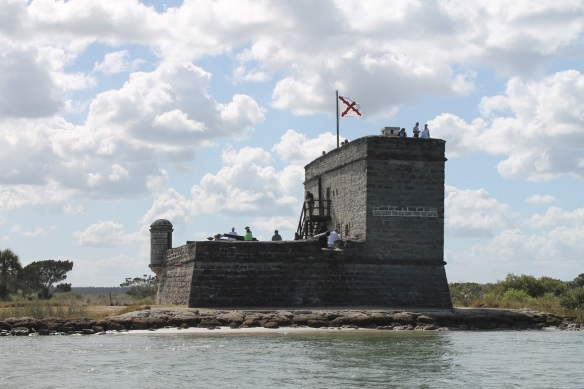 The fort is only 50 feet on each side with a 30-foot tower and is built of coquina, a local shellstone.