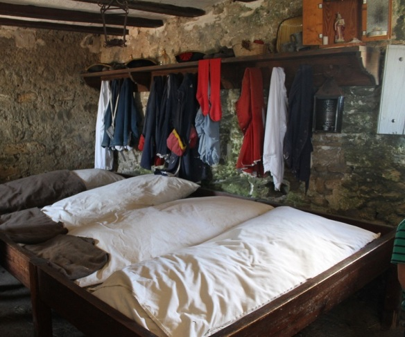 Soldiers were rotated from St. Augustine for one-month duty tours at the fort - usually an officer-in-charge, four infantrymen, and two gunners.  The officer-in-charge got a private room - everyone else bunked here.