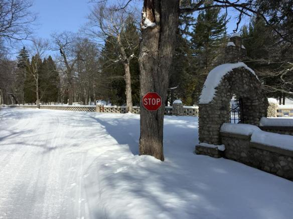 A new stop sign up at St. Anne's Cemetery.  (Photo: Josh Carley)
