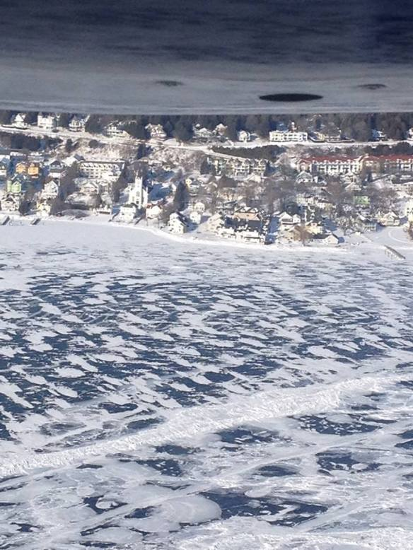 Jill sent me this photo a friend took as they flew to the island this weekend.  How awesomely beautiful is Mackinac in her winter garb!