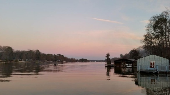 Another Lake Blackshear friend, Samille Posey, has been posting a photograph of sunsets from her dock each day since Jan. 1.  This one though was sunset from the other side of the ri'vah - the Booger Bottom dock!  I miss Booger Bottom . . . and I miss Samille!