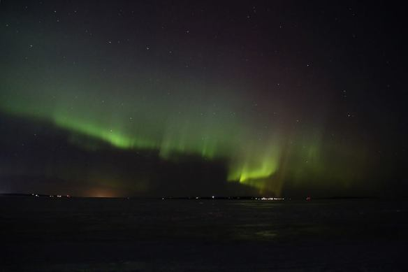 Bob Frei captured this one the next evening.  He was in Mackinaw City, shooting across the Straits to the island.