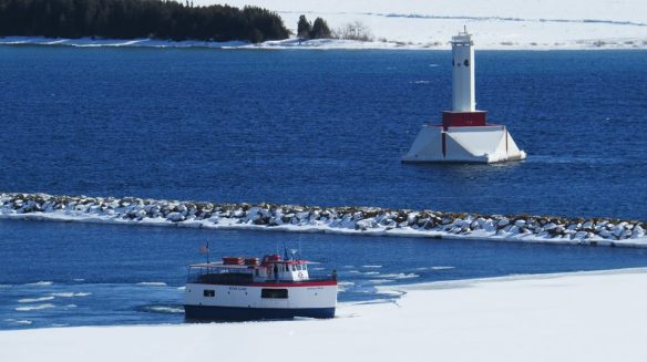 The battle of ferry vs ice begins.  Star Line's Anna May making progress on March 30.  (Photo:  Clark Bloswick)