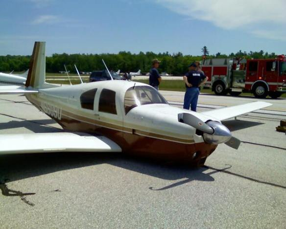 Tragedy averted at the Mackinac Island airport this week.  The pilot of this plane failed to lower his landing gear as he came in to land, and it was a hard bounce when plane met runway.  Miraculously, he walked away unhurt, but his plane took quite a beating on the bottom and the prop was damaged.