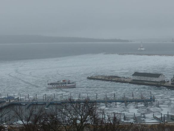 Well, this is this morning on Mackinac, and as you can tell, it's still pretty chilly.  That's the Huron backing away from the dock on its 8:30 trip back to St. Ignace.  (Photo: Clark Bloswick)