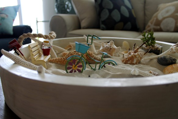 I've had a blast adding miniature items to the sand box.  I purchased the starfish, the fox shell and the spider shell from a local shell shop, but the other shells we picked up on the beach.