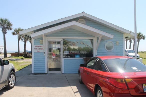 Our turn-around point for our beach walks is the Beverly Beach Town Hall .  . .