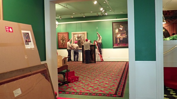Looks like the Boy Scouts are helping to hang some new art at the Grand Hotel.  (Photo: Jill Sawatzki)