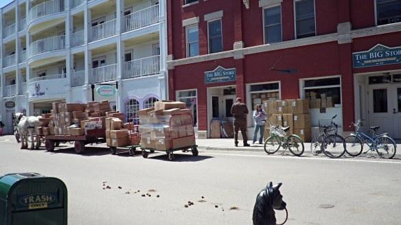 Merchandise arrives on a daily basis at downtown stores.  (Photo: Jill Sawatzki)