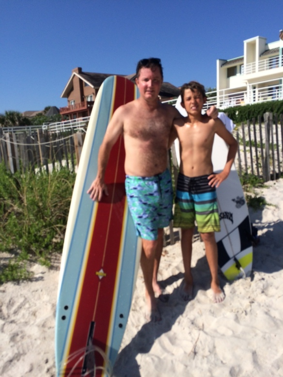 On his last day here, Jason rode over to Ormond Beach, and Matthew gave his uncle a couple hours of surfing lessons.  Between the bike ride and surfing, Jason definitelydidn't have to hit the gym for a few days after he returned to Atlanta.