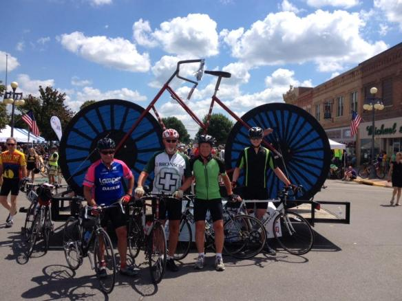 This photo was in Hiawatha, Iowa yesterday.  They were 130 miles from their 480-mile goal!  Max is on the far right.