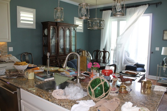Upstairs, things had to be moved and surfaces dried.