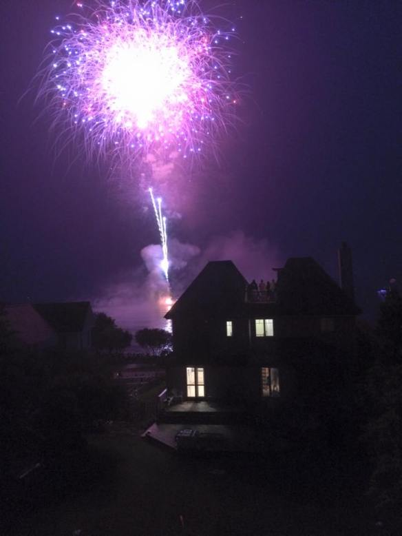 And then there are the fireworks.  Sometimes we'd walk downtown to watch, but usually we just sat on our condo deck in the Village, where the view was awesome.  (Photo by Emily Galka of last night's Mackinac fireworks)