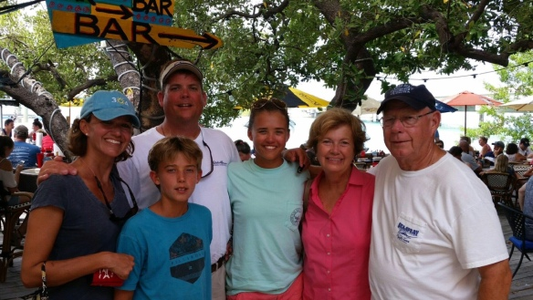 At Robbies, we bought a bucket of fish and fed the tarpons, ate a great lunch, and asked a tourist to snap a family photo.