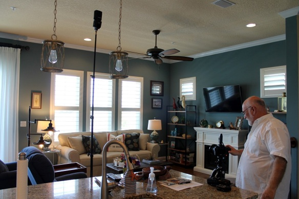 John set up lights everywhere. He said all the windows presented a shooting challenge, but I'm sure he got it figured out. LOL!  Sure am glad he wasn't shooting that messy kitchen island!