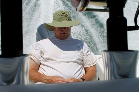 Ted - bless his heart - had to take a little nap on the way back to shore.