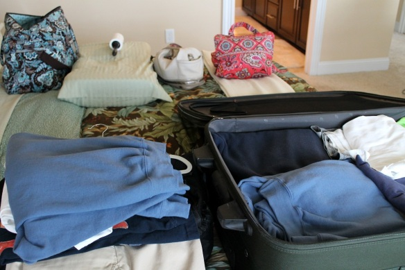 Here's the deal.  We don't want to have to lug our huge suitcases out of the car each night on the road.  So, we pack a