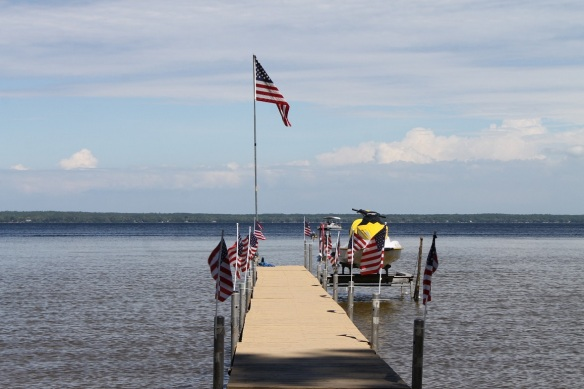 There's a dock lines with American flags . . .