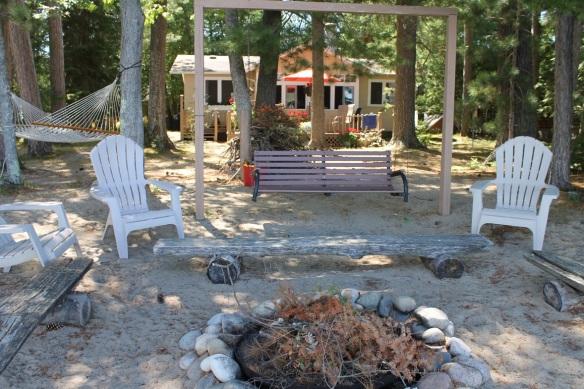 . . .  a fire pit, a swing, a hammock . . .
