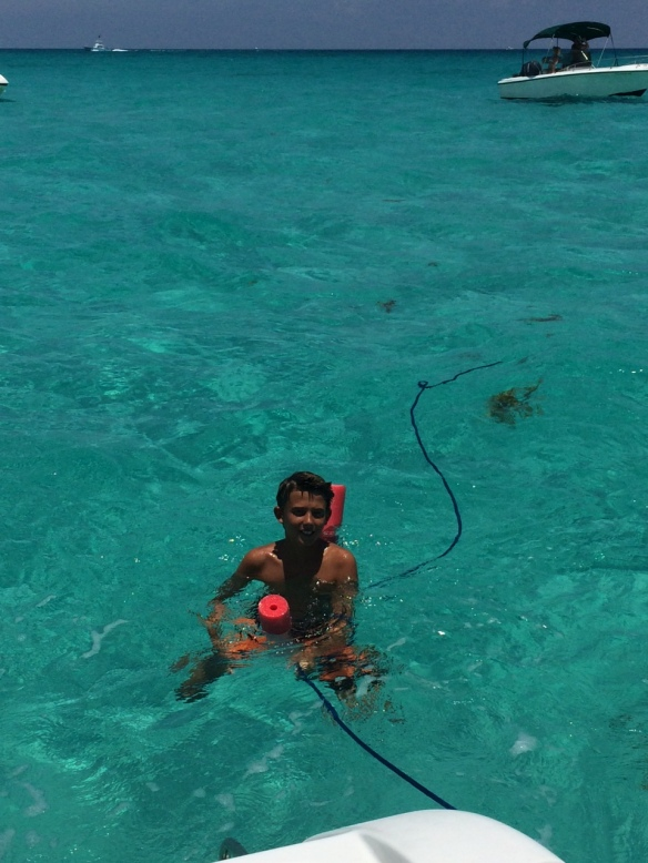 Matthew became a teenager yesterday and celebrated by snorkeling . . .
