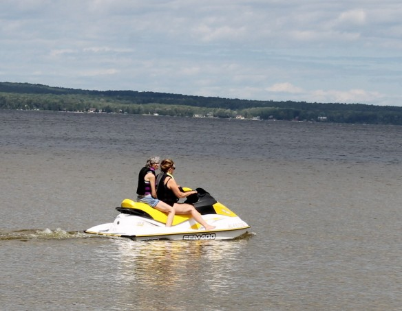 Jill and Sue on the Waverunner.