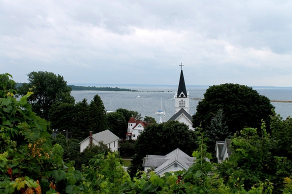 I took a stroll up to the East Bluff earlier in the week and - like every other tourist who ever makes it up that hill - I had to take this iconic shot of the Straits featuring the steeple of St. Anne's Church.