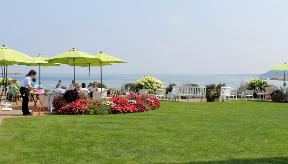 . . . this amazing area where you may choose to dine outside by the water.