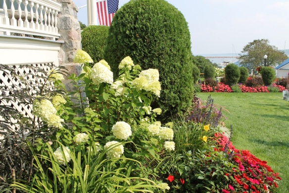 The side yard is no less spectacular than the back.