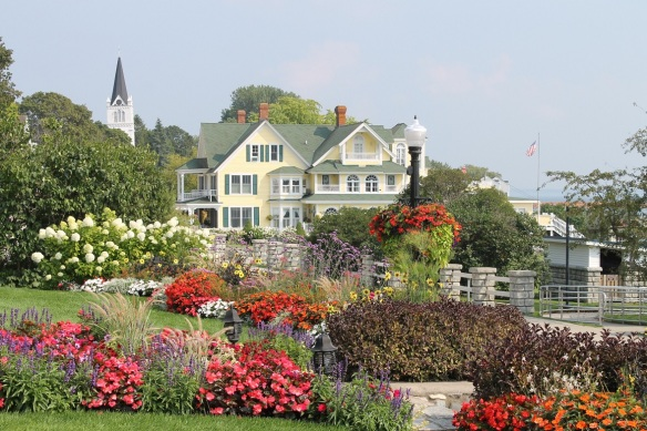 . . . but it is this view - as seen by the owners everyday from their front porch . . . that captures all the magic of summer gardens on Mackinac Island.