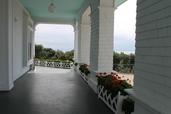 The western portico and its fabulous view over the Straits of Mackinac.