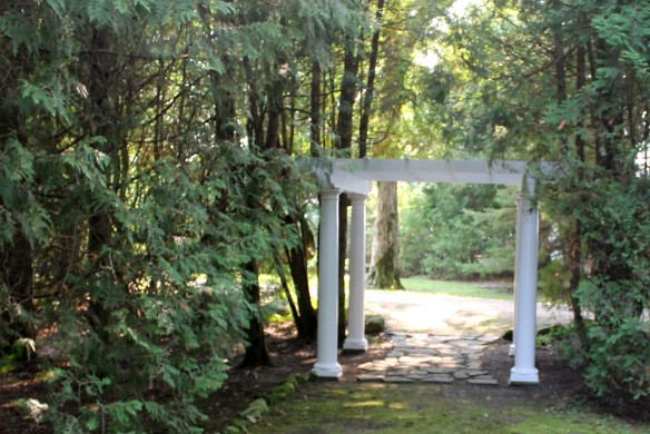 This garden is all about the shade and the splendor of old trees. You enter the side yard through a beautiful pergola . . .