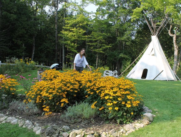 What fun this family must have out here! There's a teepee for overnight camping . . .