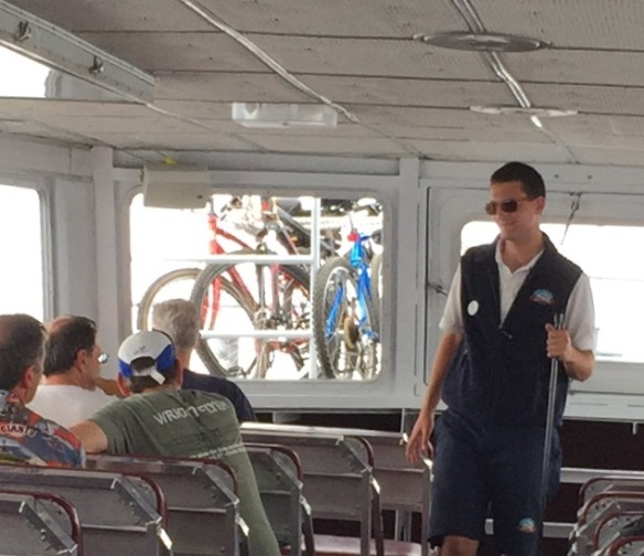 You know it's a crowded ferry when the baggage section is packed on full of luggage and bikes that a few bikes had to be transported on the front deck!