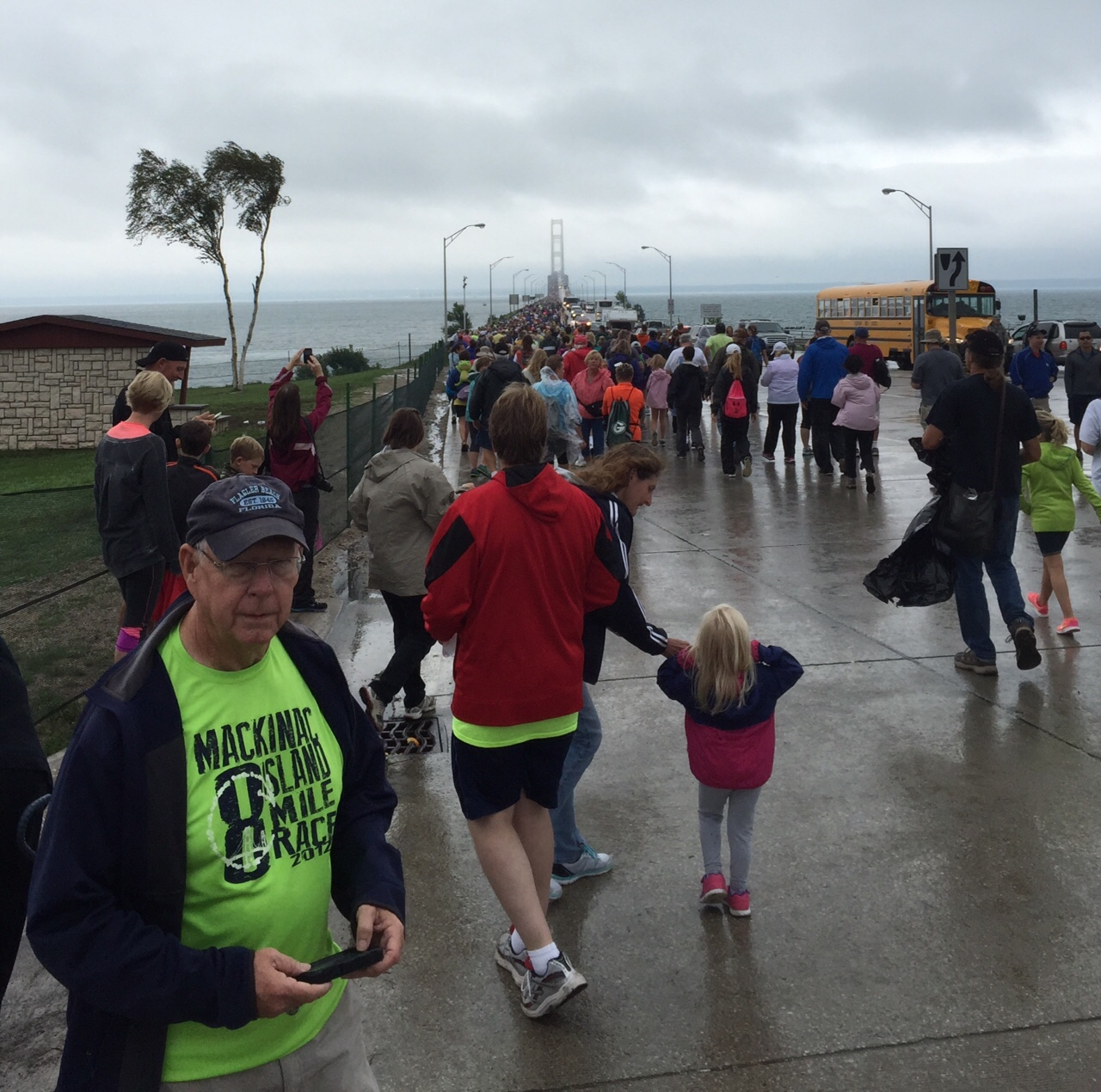 Stormy Labor Day weather didn't stop Ted from joining approximately 40,000 other walkers for the Annual Labor Day Bridge Walk. This photo is just before he joins the crowd at the beginning point in St. Ignace.