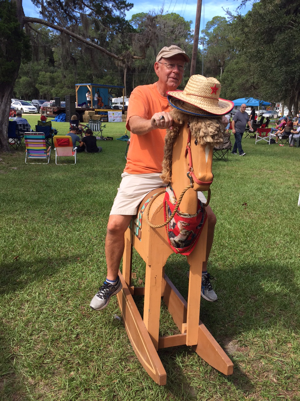 At the Creekside Festival. This is the closest Ted will ever be to riding a horse!