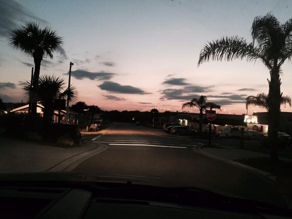 The sleepy streets of Flagler Beach after sundown.
