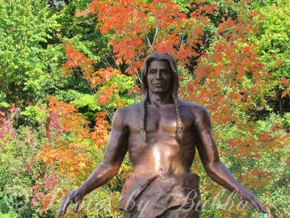 The Peace Garden sculpture against brilliant fall foliage. (Photo: Bruce LaPine)