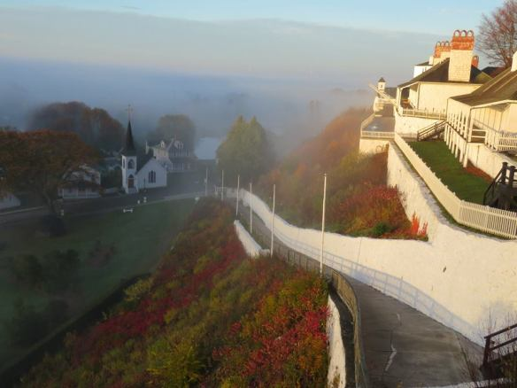 . . . mornings when fog rolled up from Lake Huron to tickle Fort Mackinac's ramparts (Photo: Clark Bloswick) . . .