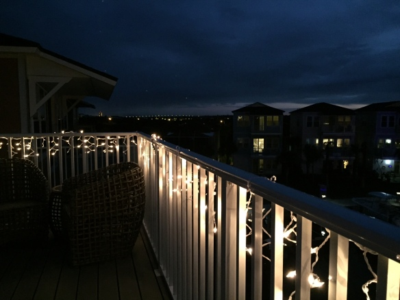 . . . and used icicle lights on the skywalk railings.
